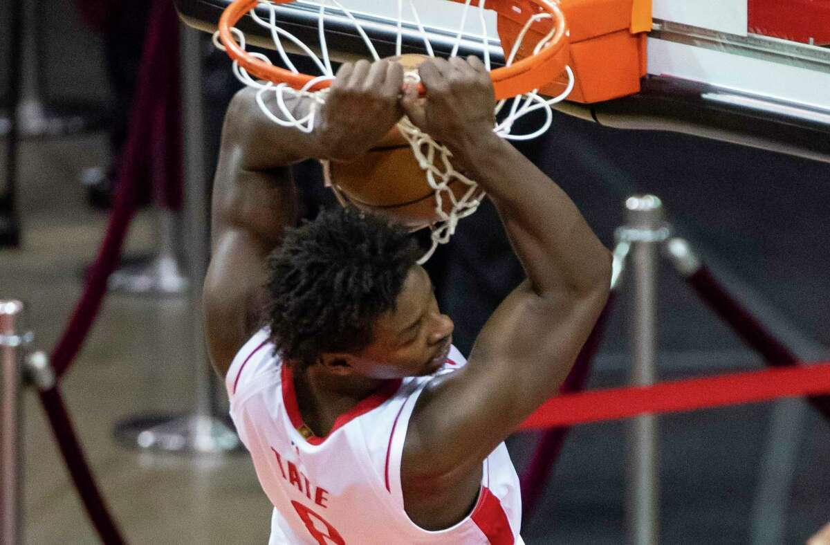 The Rockets found Jae'Sean Tate in Australia where he led Sydney to the NBL Finals last season and signed him to a three-year contract in the offseason before he turned heads with his energetic, unusually seasoned play.