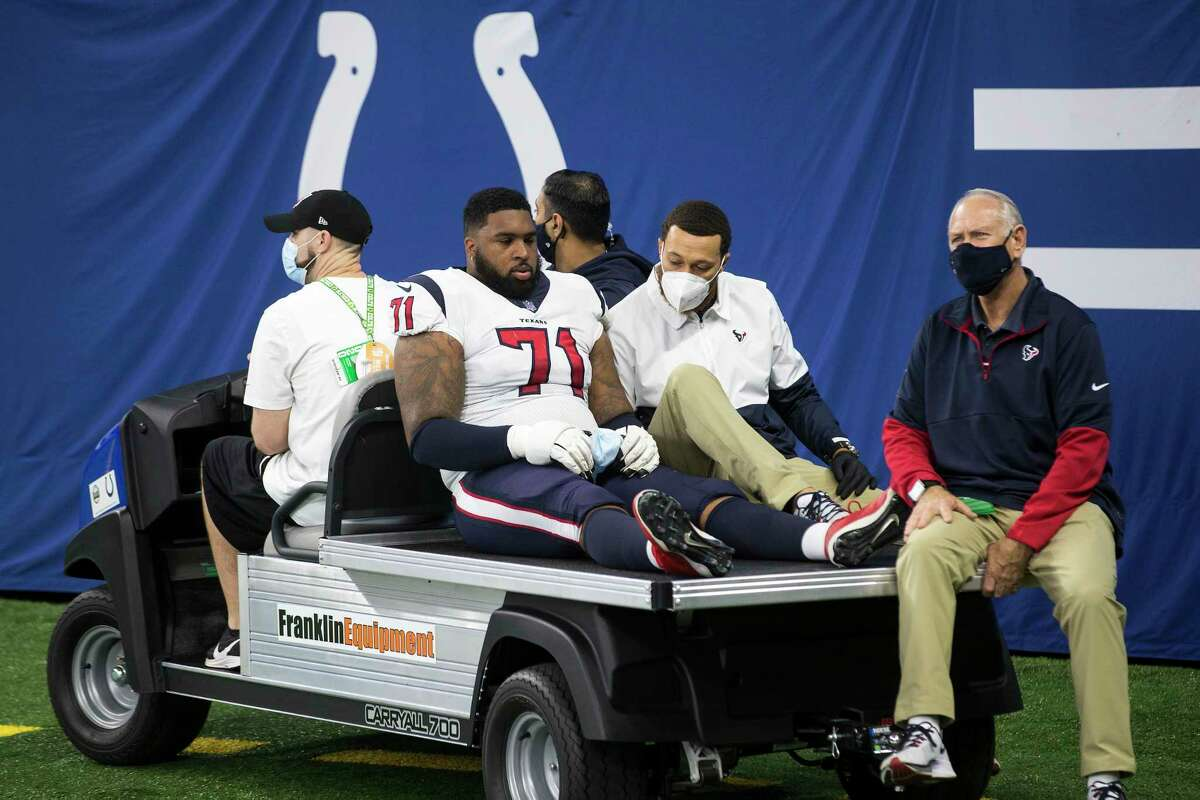 Houston Texans offensive tackle Tytus Howard (71) is carted off the field after suffering an injury during the first half of an NFL football game against the Indianapolis Colts at Lucas Oil Field Sunday, Dec. 20, 2020, in Indianapolis.