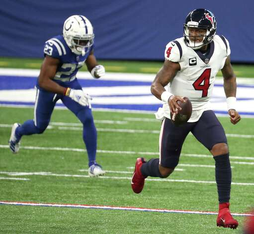 Houston Texans quarterback Deshaun Watson (4) is chased out of bounds by Indianapolis Colts cornerback Kenny Moore II (23) during the fourth quarter of an NFL football game at Lucas Oil Field Sunday, Dec. 20, 2020, in Indianapolis. Photo: Brett Coomer, Staff Photographer / © 2020 Houston Chronicle