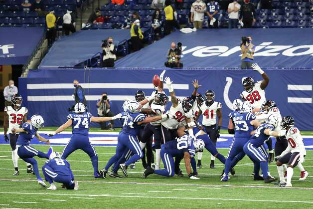Indianapolis Colts kicker Rodrigo Blankenship (3) kicks an extra point against the Houston Texans during the fourth quarter of an NFL football game at Lucas Oil Field Sunday, Dec. 20, 2020, in Indianapolis. Photo: Brett Coomer, Staff Photographer / © 2020 Houston Chronicle