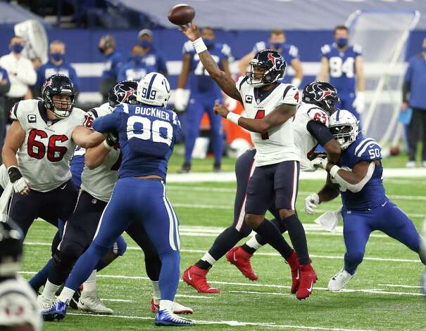 Houston Texans quarterback Deshaun Watson (4) throws a pass against the Indianapolis Colts during the fourth quarter of an NFL football game at Lucas Oil Field Sunday, Dec. 20, 2020, in Indianapolis. Photo: Brett Coomer, Staff Photographer / © 2020 Houston Chronicle