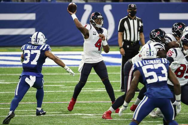 Houston Texans quarterback Deshaun Watson (4) passes against the Indianapolis Colts during the third quarter of an NFL football game at Lucas  Field Sunday, Dec. 20, 2020, in Indianapolis. Photo: Brett Coomer, Staff Photographer / © 2020 Houston Chronicle