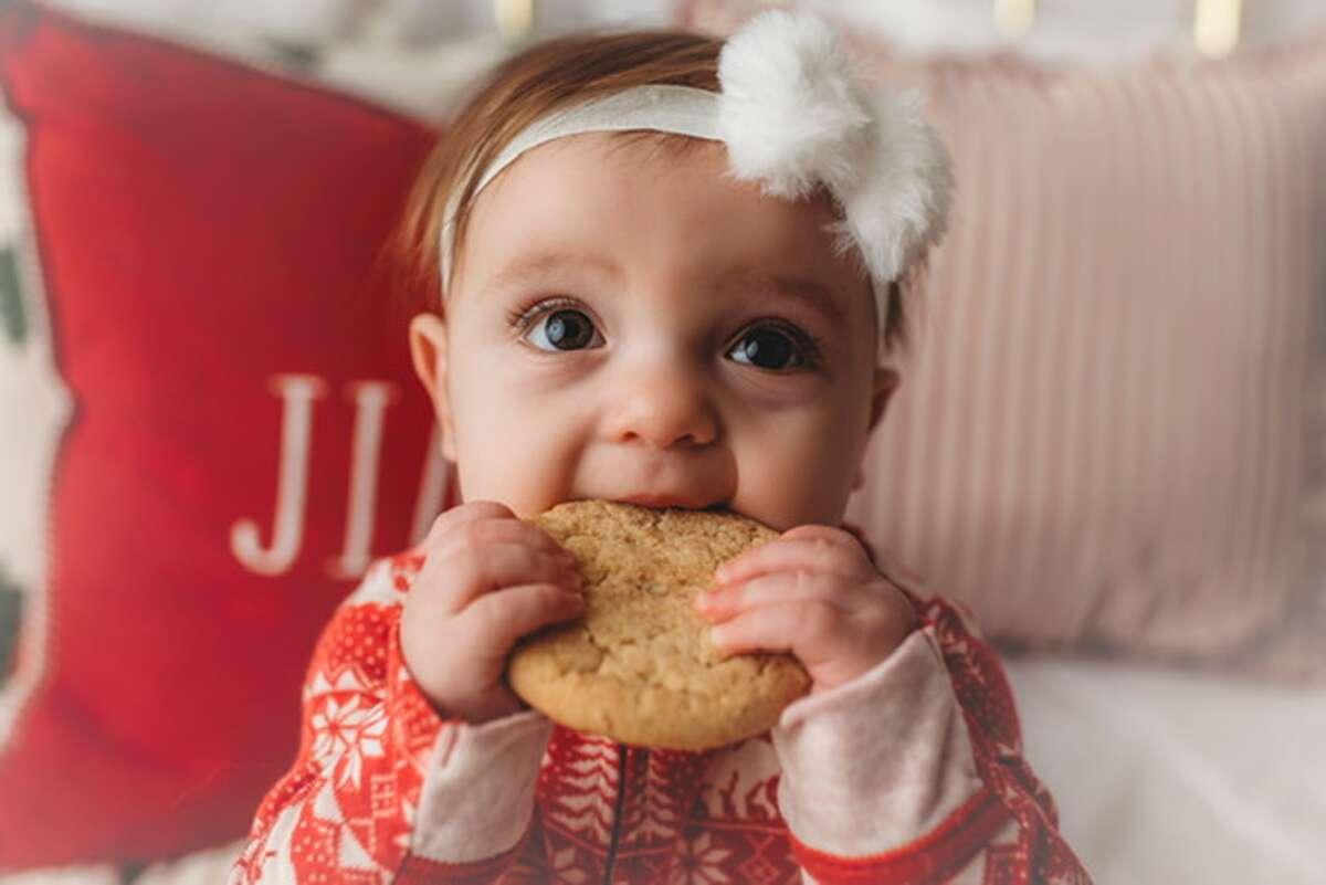 """Lenie Hays Wekenman 4/17/20 Lenie's 1st Christmas. Love, Grandpa and Grandma"""