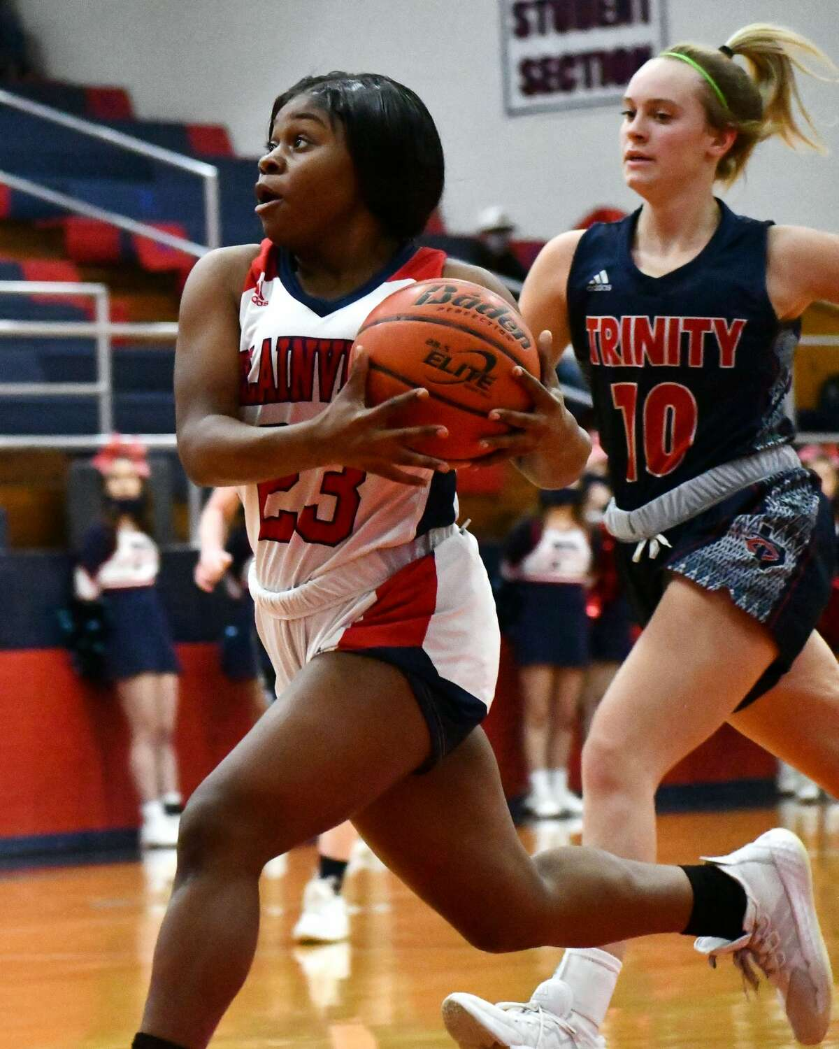 Plainview's Dalazia White goes in for two points during the Lady Bulldogs' 91-35 win over Trinity Christian in the Dog House on Friday.