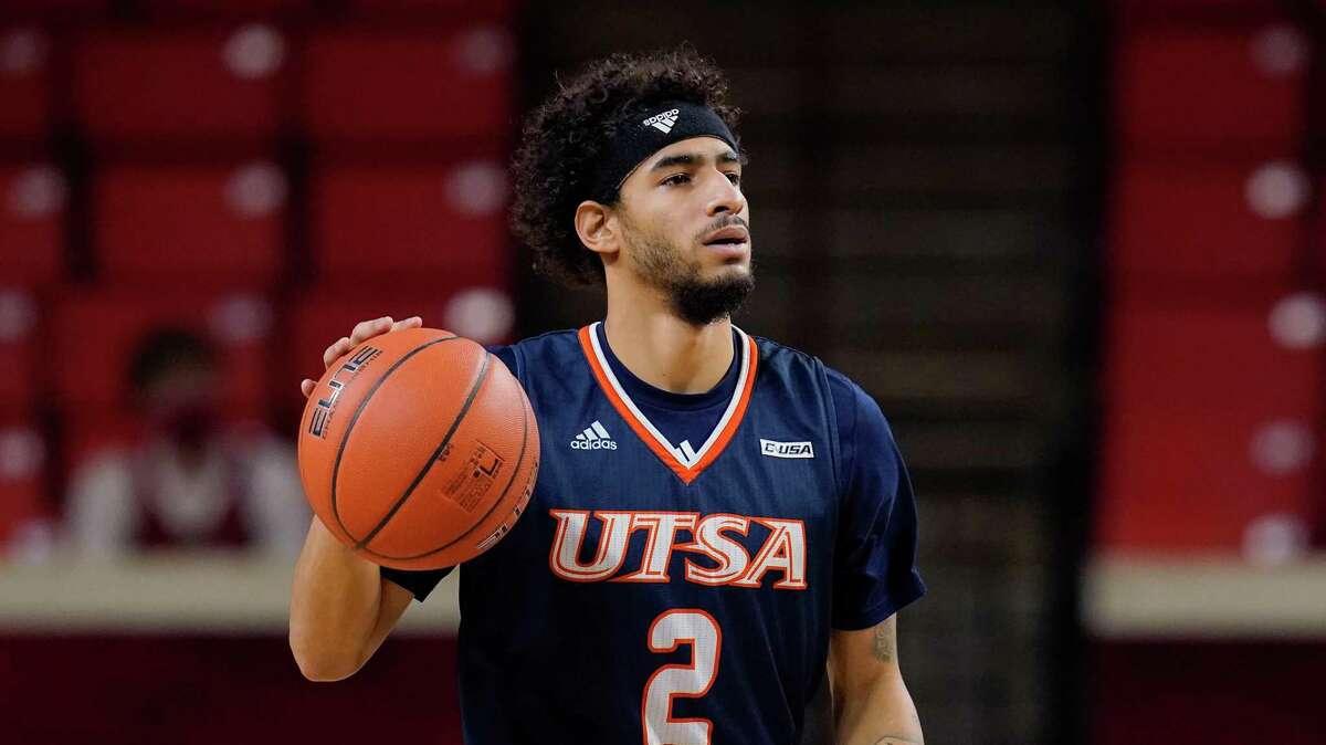UTSA guard Jhivvan Jackson (2) during an NCAA college basketball game against Oklahoma Thursday, Dec. 3, 2020, in Norman, Okla. (AP Photo/Sue Ogrocki)