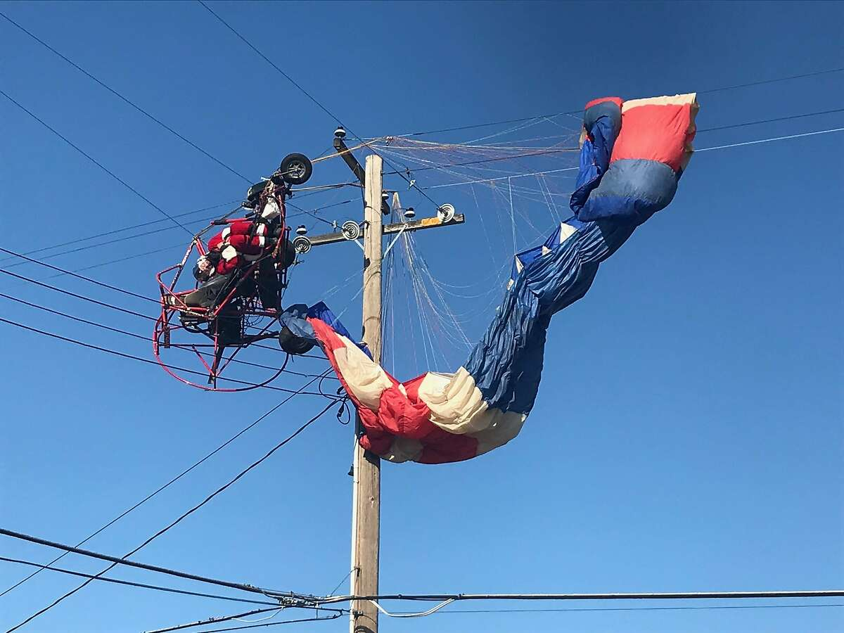 A man dressed as Santa Claus crashed his aircraft into power lines Sunday morning as he was delivering candy canes to the Rio Linda neighborhood.