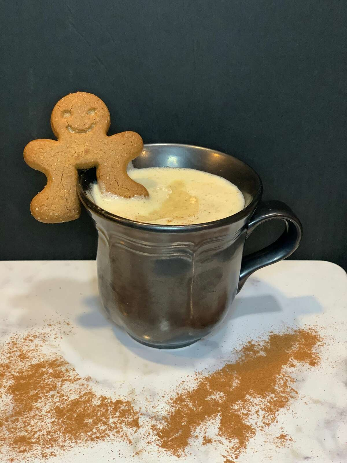 A Tom and Jerry cocktail, mixed with a gingerbread-esque batter.
