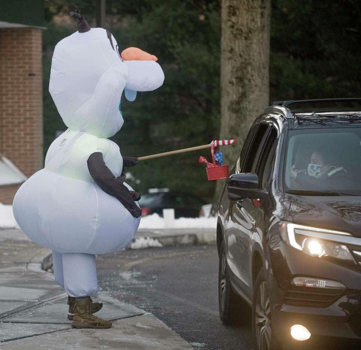 Kregg Zulkeski, dressed as Olaf from the movie