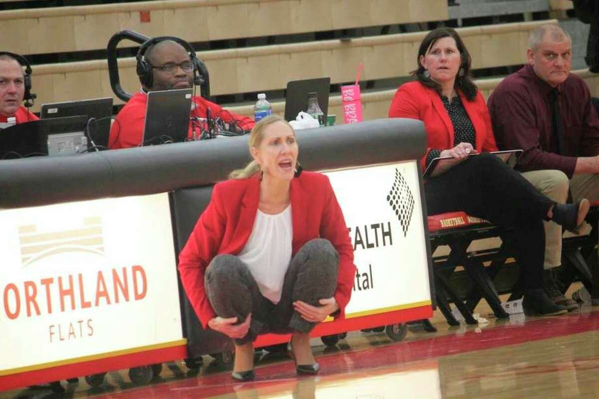 Former Ferris State women's basketball coach Kendra Faustin gives orders from the sideline during a game last season. (Pioneer file photo)