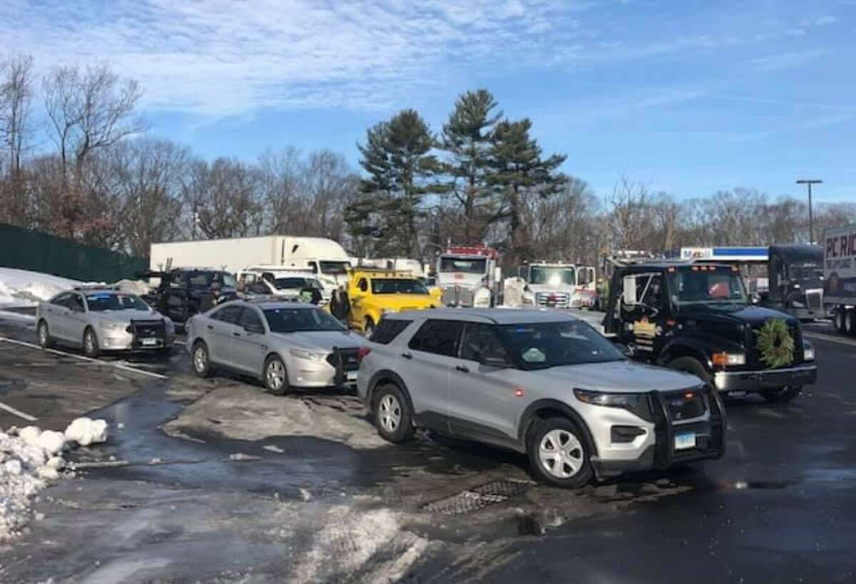 The procession before hitting the road on Saturday, Dec. 19, 2020. Tow trucks led a delivery of donations for the Troop G annual holiday toy drive.