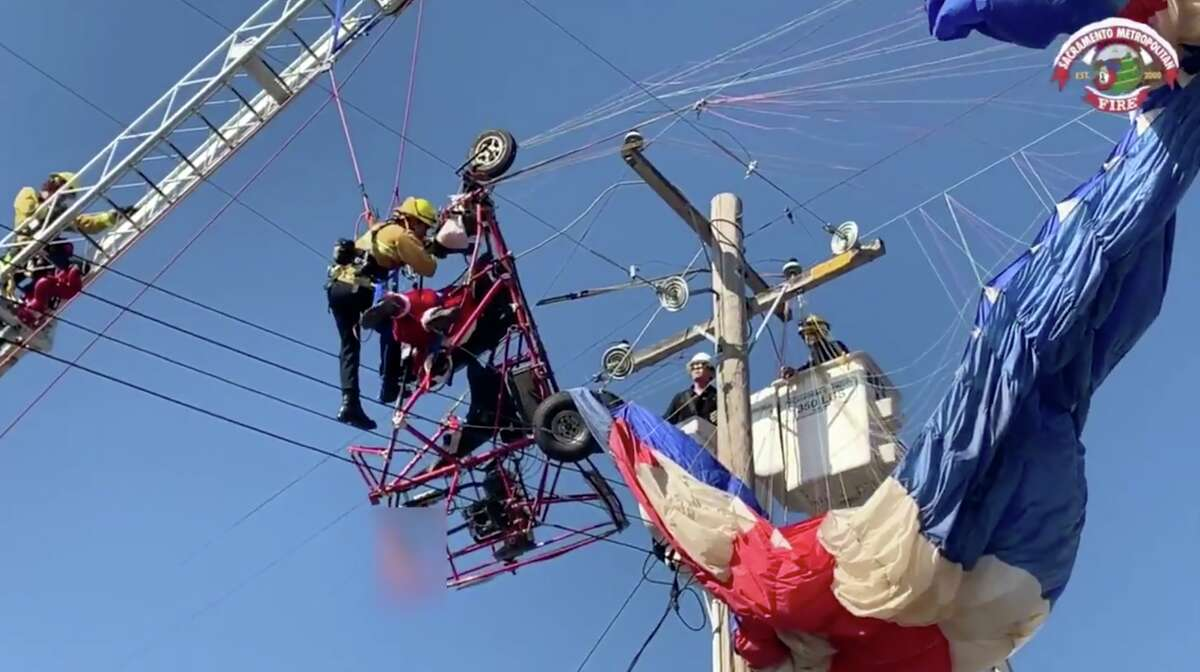 A California paraglider dressed as Santa Claus was spreading holiday cheer overhead before he crashed into power lines in the Sacramento suburb of Rio Linda.