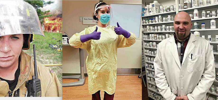 (Left) Trisha Johnson is a firefighter and EMT from Reed City. She is also working to obtain a degree in nursing; (Center) Alicia Zeigler gears up during her shift as a nurse technician. She was one of many healthcare workers who helped keep the community safe in the early stages of the pandemic; (Right) Brent Beemer, a pharmacist at Canadian Lakes Pharmacy, was one of many essential workers in Mecosta County. Beemer made sure customers were able to receive daily medications while following COVID-19 guidelines to make sure they remained safe. (Pioneer Group photo)