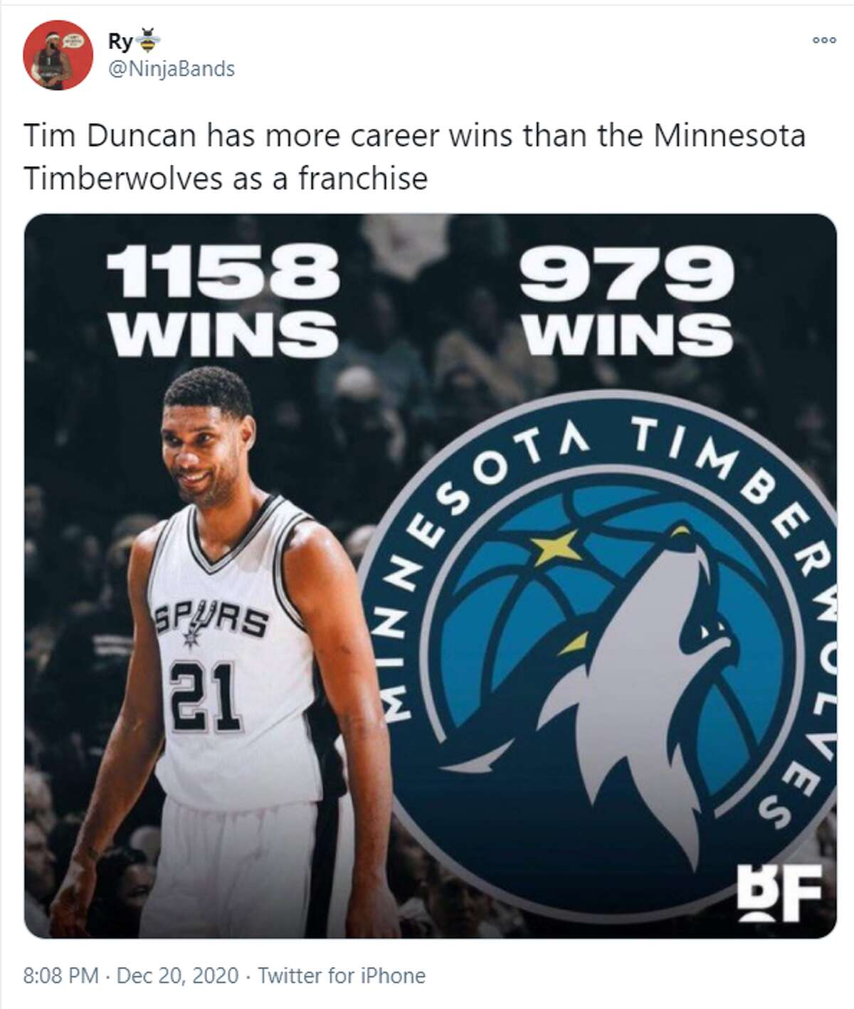 Who else knew that Tim Duncan has more wins than an entire basketball franchise?