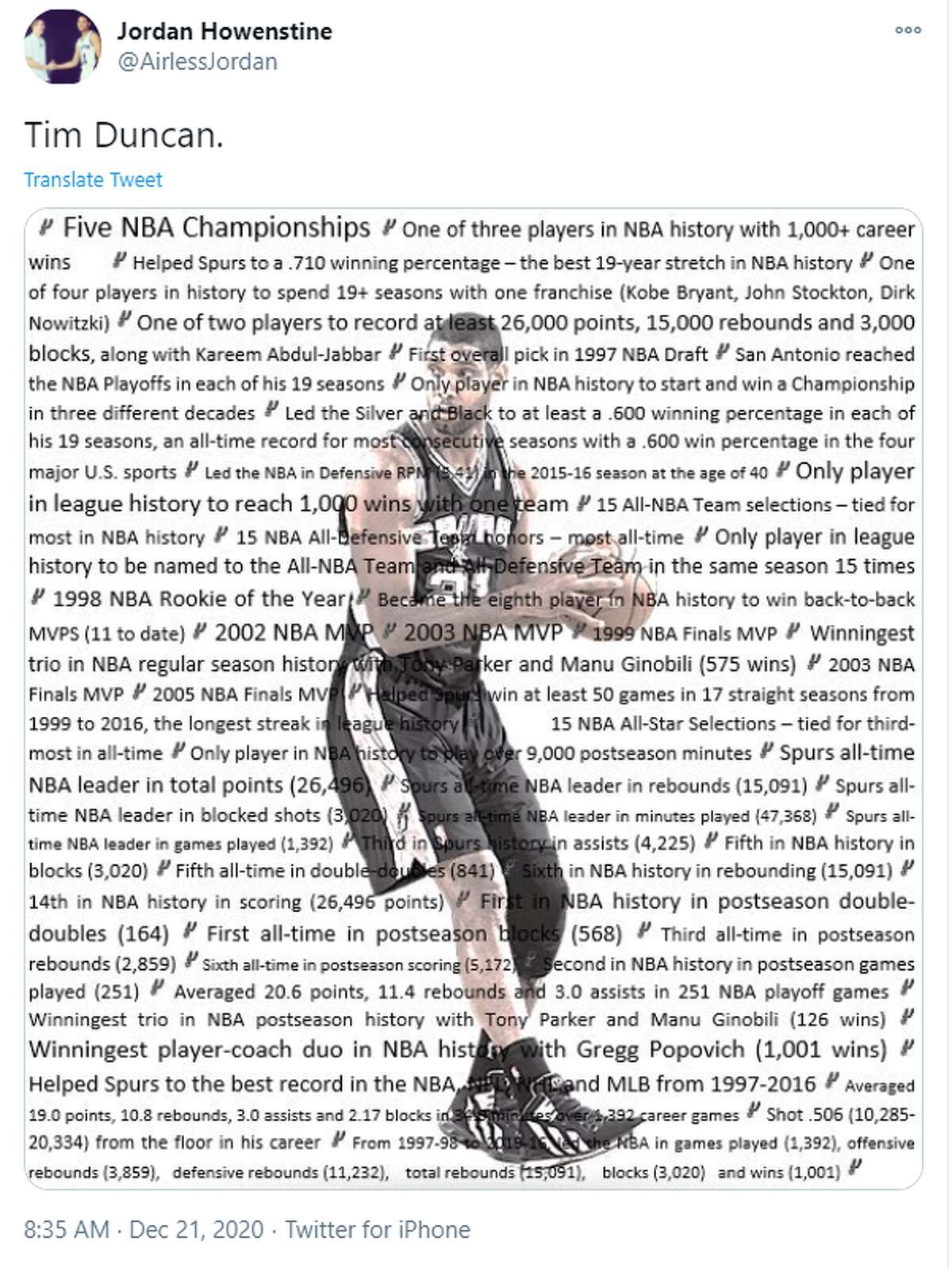 This graphic tells you all you need to know about Duncan's career highlights if you need to arm yourself with facts before jumping into the Duncan vs. Davis debate.