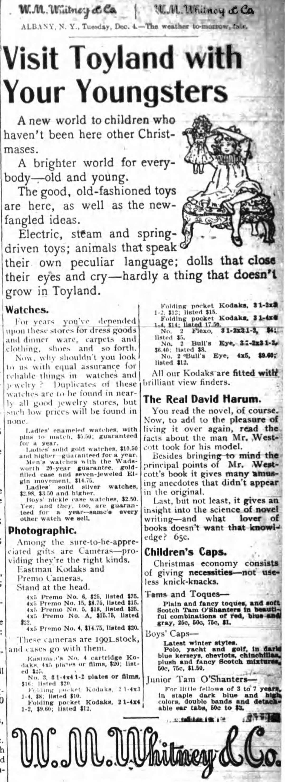 Dec. 4, 1900 ad in the Times Union.