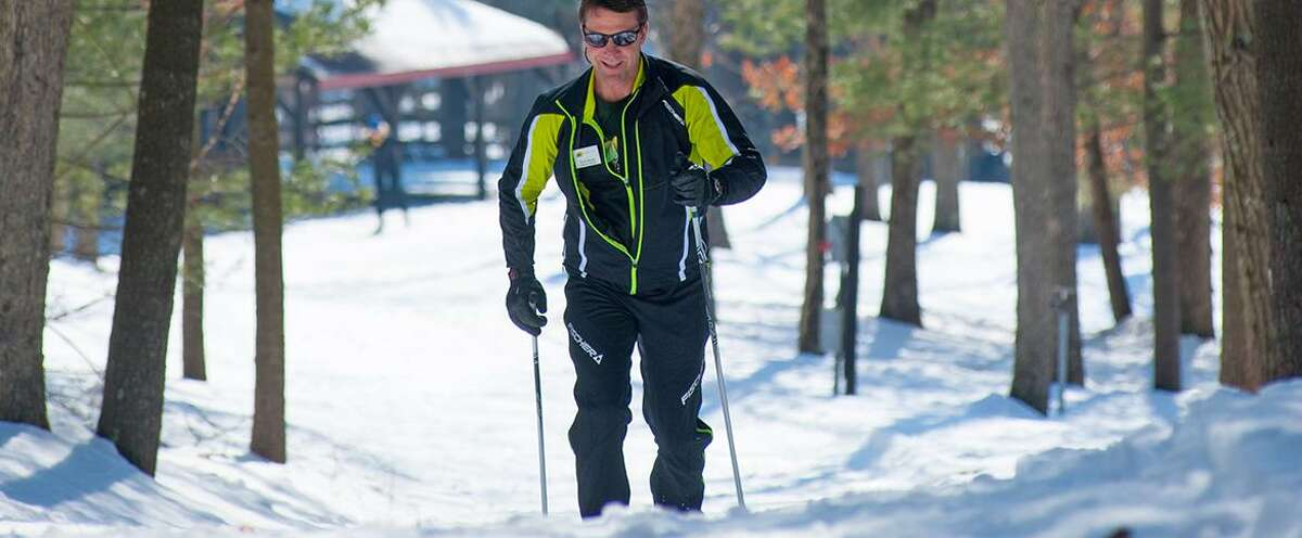 Cross-country skiing at Winding Trails in Farmington. Winding Trails Cross Country Ski Center, Farmington Winding Trails features 350 acres of woodland, lakes and wildlife and a cross-country ski center with snowshoe rentals for its trails.