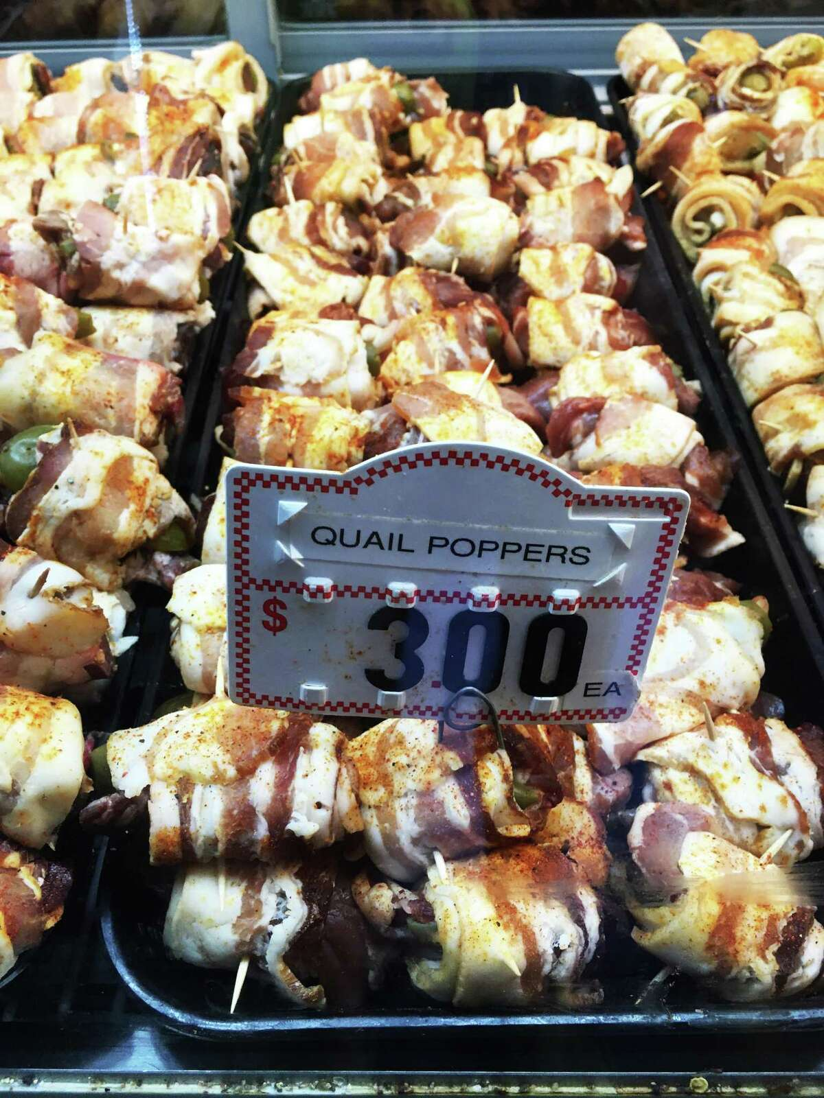 Quail poppers are sold for $3 each at Chick's Prime Meat Market in Spring Branch.