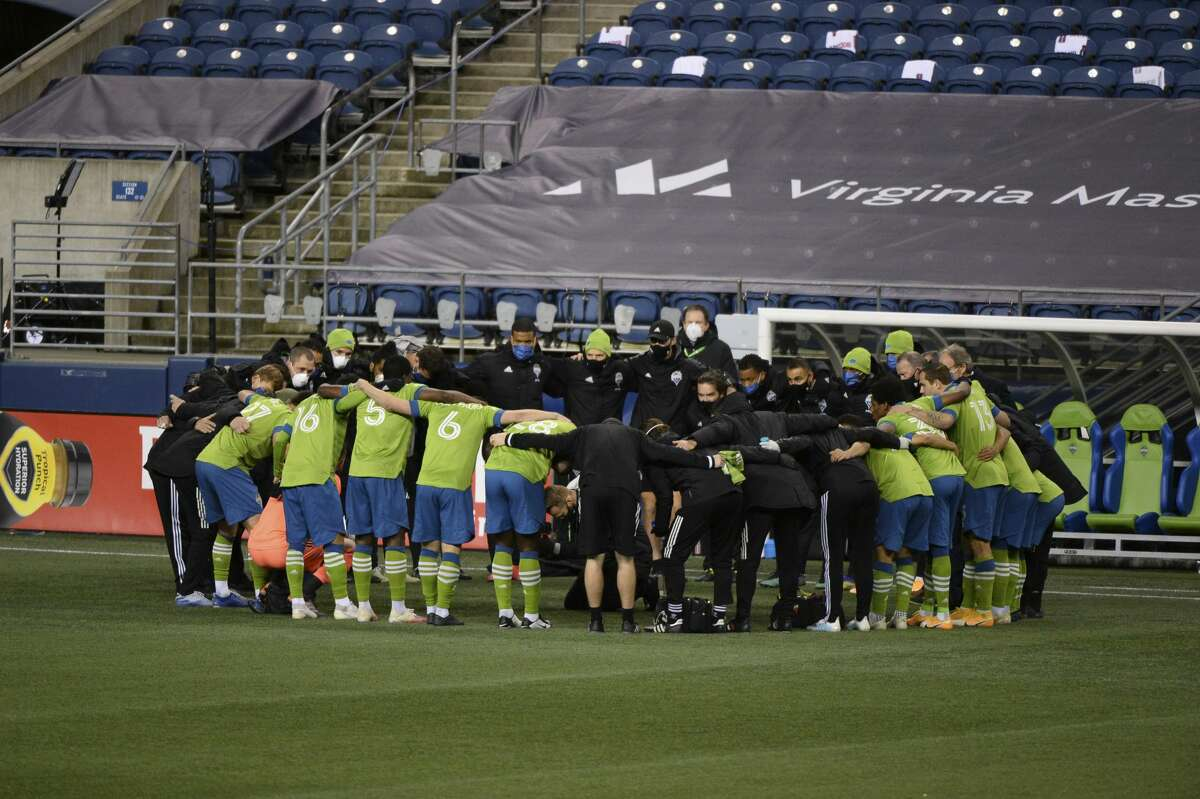 SEATTLE, WA - DECEMBER 01: The Seattle Sounders team gets together before an MLS playoff match between the Seattle Sounders and FC Dallas on December 1, 2020 at Lumen Field in Seattle, WA. (Photo by Jeff Halstead/Icon Sportswire via Getty Images)
