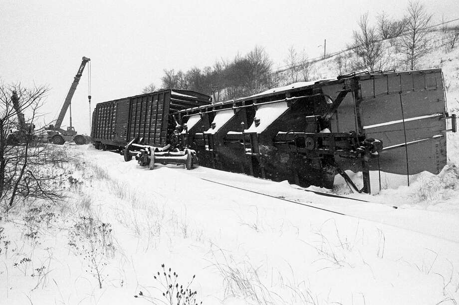 From the front page of the News Advocate on this day in 1980, seven cars from a Chesapeake and Ohio train were derailed early this morning. (Manistee County Historical Museum photo)