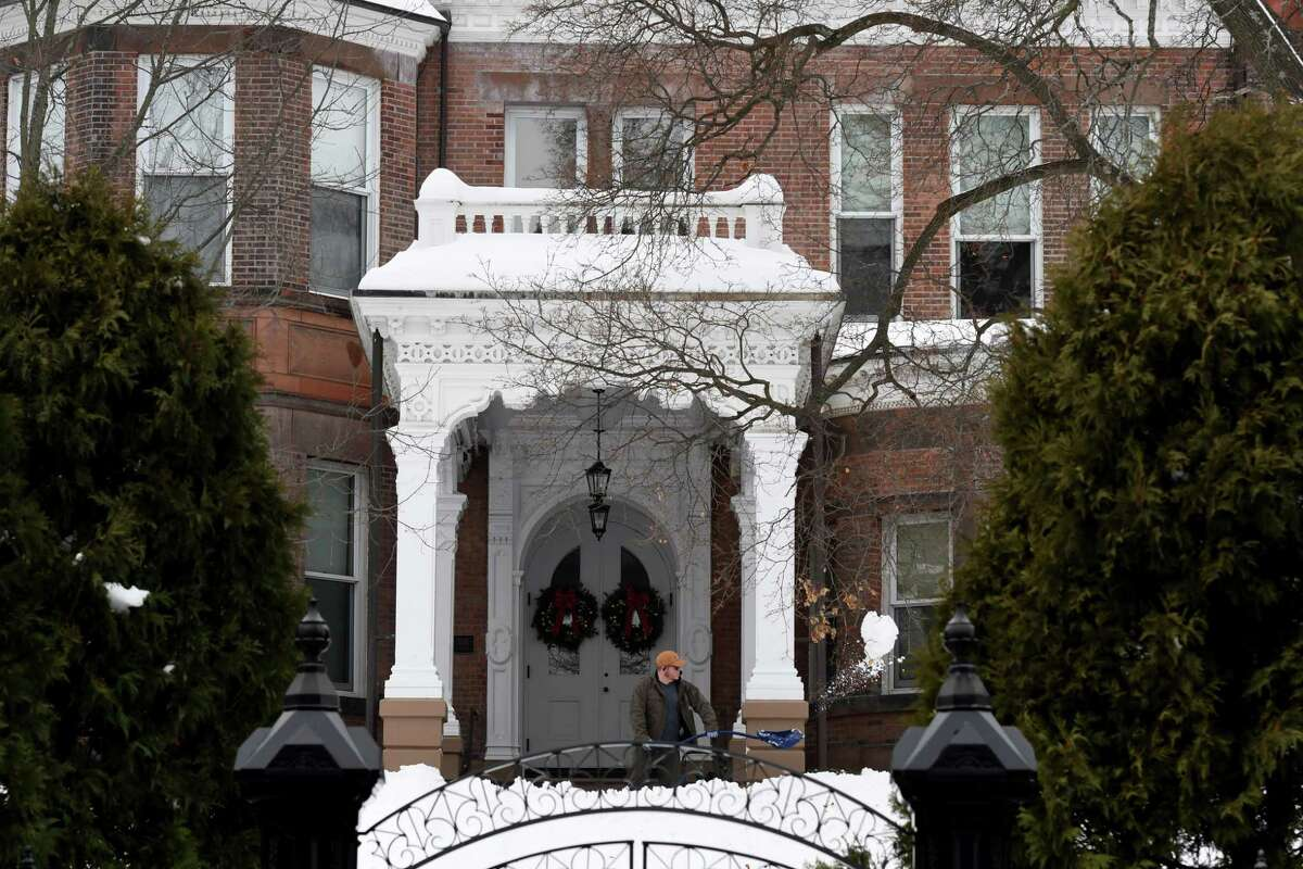 The front steps to the Governor's Mansion are shoveled clear of snow from last week's storm on Monday, Dec. 21, 2020, in Albany, N.Y. (Will Waldron/Times Union)