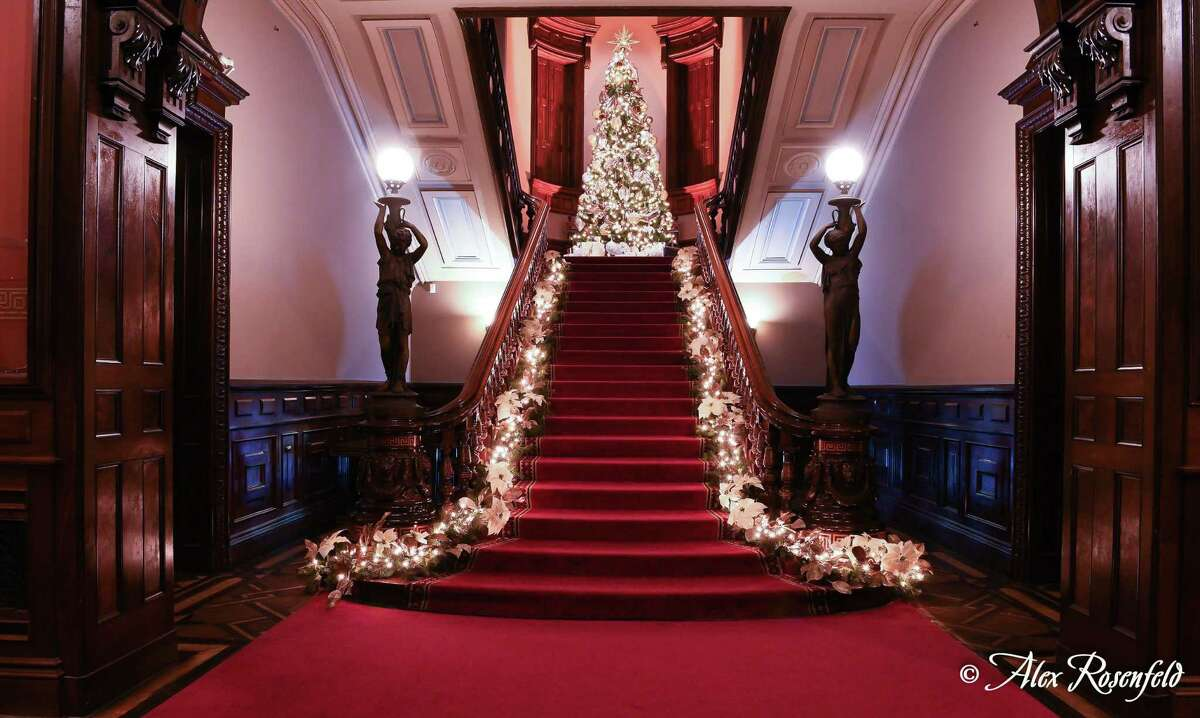 LMMM's Grand Staircase decorated with a contemporary holiday display.