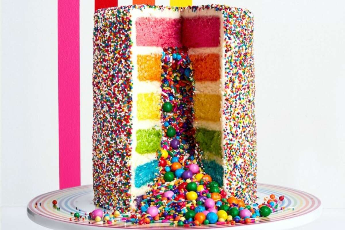 Burst into 2021 with your own insta-worthy rainbow explosion cake!