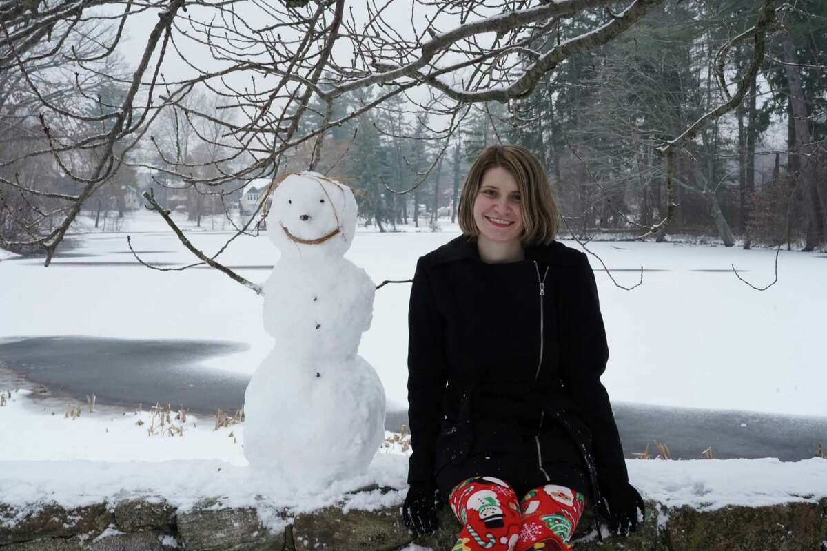 Arianna Galati made a snowman in Mead Memorial Park in New Canaan Dec. 20, 2020.