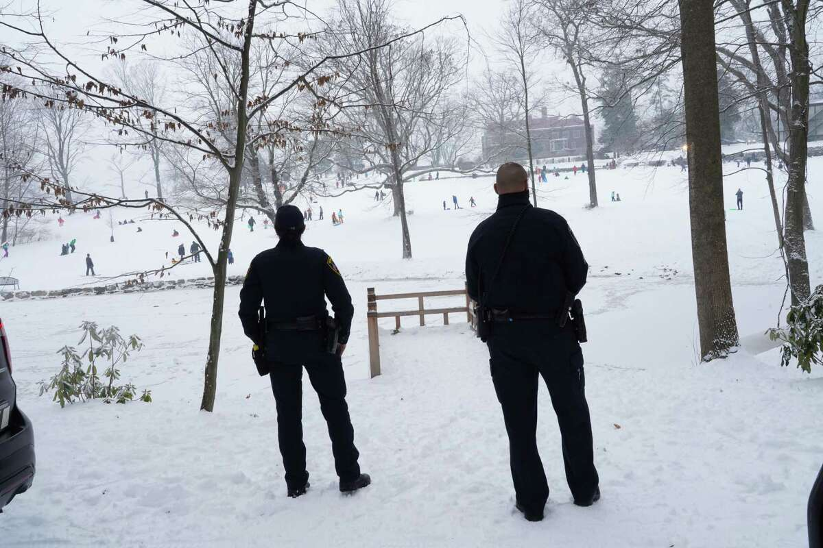 New Canaan Officer Kelly Coughlin and Sgt. Erin Latourette were at Waveny Park to make sure no one walked on the ice of Anderson Pond Dec. 20, 2020.