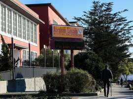 Abraham Lincoln High School, located at 2162 24th Ave., remains closed due to the coronavirus pandemic on Tuesday, December 8, 2020, in San Francisco, Calif. Lincoln High School is one of the educational institutions subject to a name change under a proposal by a committee in San Francisco.