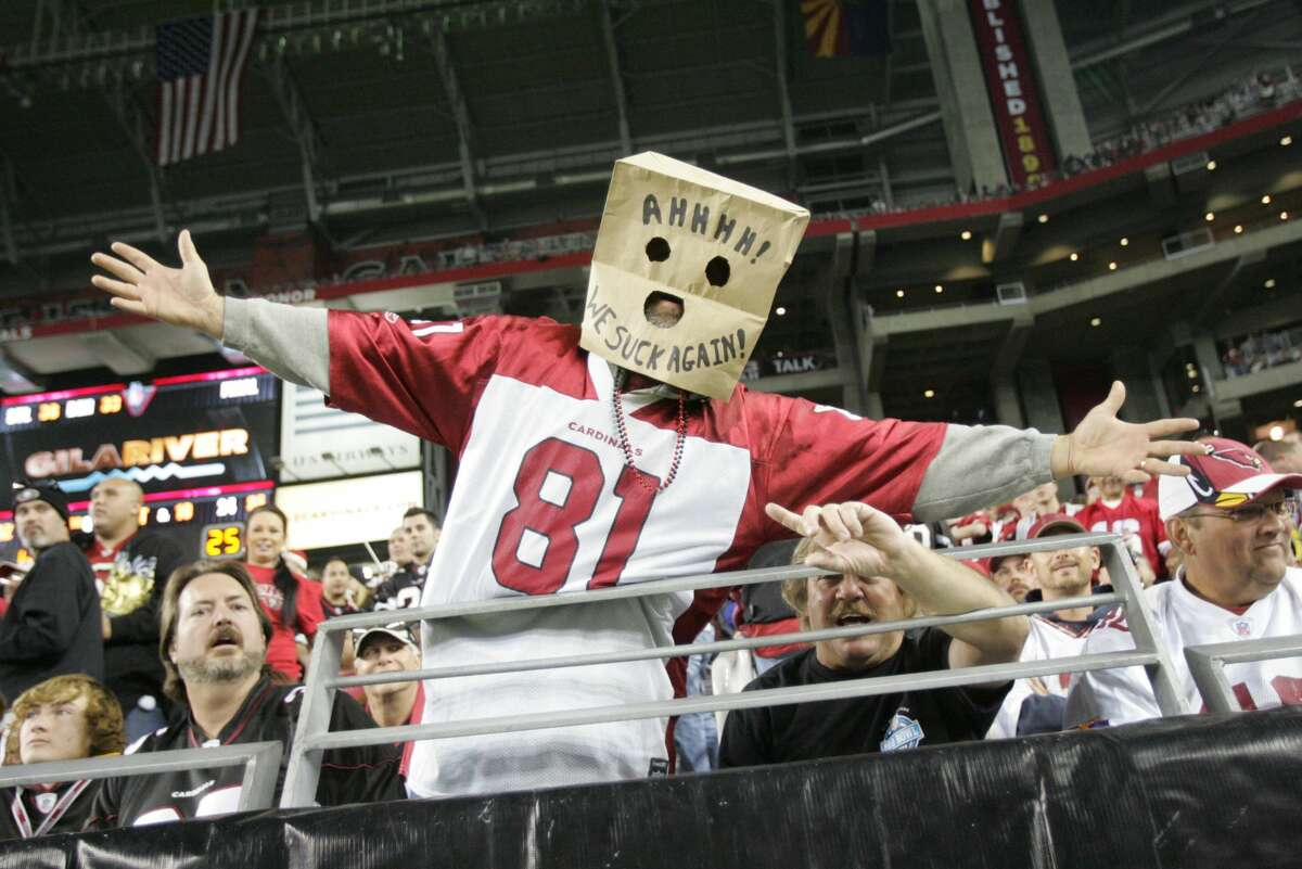 An Arizona Cardinals fans shows his displeasure with the team during the game against the San Francisco 49ers at the University of Phoenix Stadium on Nov. 29, 2010, in Glendale, Ariz.