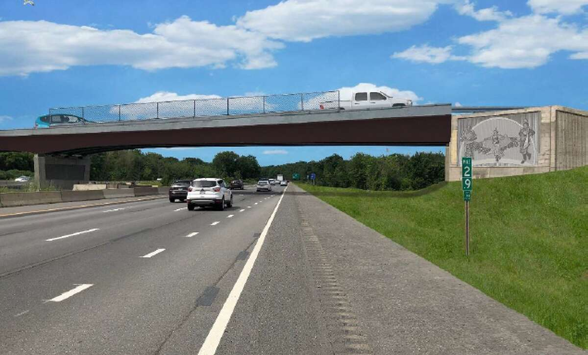 A rendering of a Native American-themed mural that the state Department of Transportation has agreed to place on the overpass to Exit 3 from the Northway. (Provided by the Stockbridge-Munsee Mohican Nation)