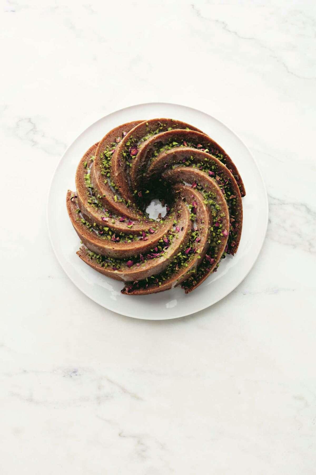 "Pistachio Cardamom Bundt Cake recipe from ""Martha Stewart's Cake Perfection."""