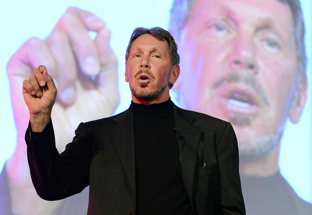 In this file photo, Larry Ellison, chief technology officer of Oracle Corporation, speaks during the New Economy Summit 2014 in Tokyo on April 9, 2014.