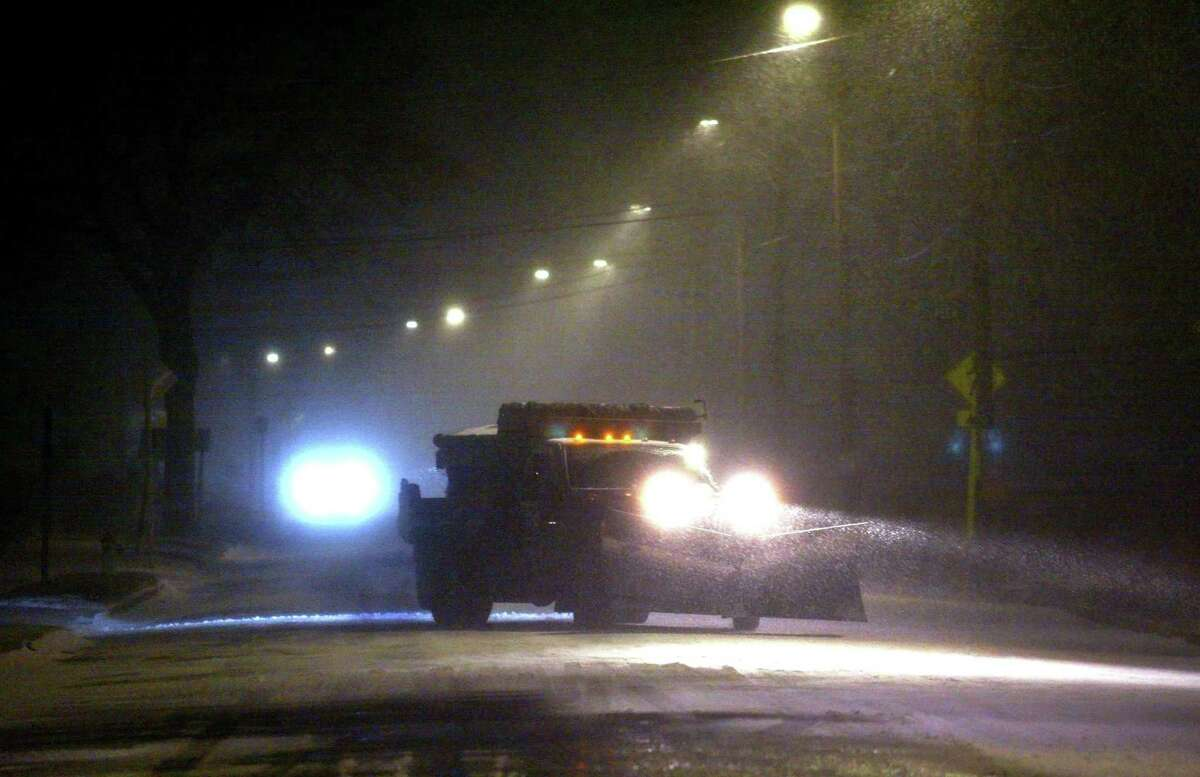 A plow makes its way on Dec. 16.