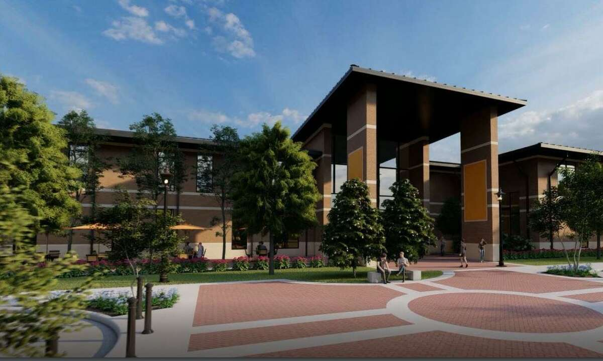 This is a rendering of a new academic facility proposed as part of the Lamar State College Orange master plan. The slide was presented virtually at the December meeting of the Texas State University System Board of Regents.