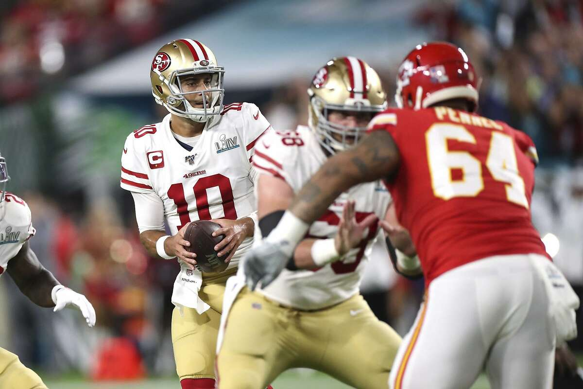 San Francisco 49ers quarterback Jimmy Garoppolo (10) drops back to pass against the Kansas City Chiefs in Super Bowl 54, Sunday, Feb. 2, 2020 in Miami Gardens, Fla. The Chiefs defeated the 49ers 31-20. (AP Photo/Doug Benc)