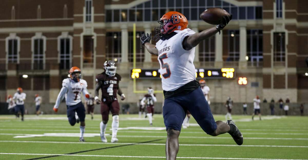 Bridgeland Bears wide receiver Dylan Goffney (5) catches a pass and scores a touchdown in the fourth quarter of the high school football game between the Cy-Fair Bobcats and the Bridgeland Bears at Cy-Fair FCU Stadium in Cypress, TX on Friday, November 27, 2020. Bridgeland defeated Cy-Fair 41-29.