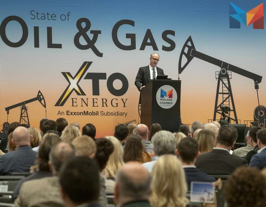 Travis Stice, Diamondback Energy CEO, speaks at the 2020 State of Oil & Gas luncheon Jan. 20 at the Bush Convention Center. Diamondback announced Monday it is acquiring two companies in deals totaling about $3 billion. Photo: Tim Fischer/Midland Reporter-Telegram / Midland Reporter-Telegram