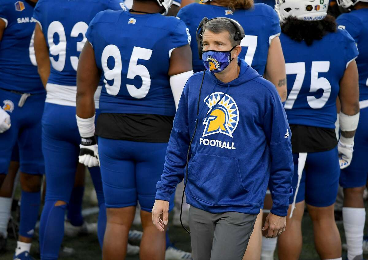 LAS VEGAS, NEVADA - DECEMBER 19: Head coach Brent Brennan of the San Jose State Spartans looks on in the second half of the Mountain West Football Championship against the Boise State Broncos at Sam Boyd Stadium on December 19, 2020 in Las Vegas, Nevada. The Spartans defeated the Broncos 34-20. (Photo by Ethan Miller/Getty Images)