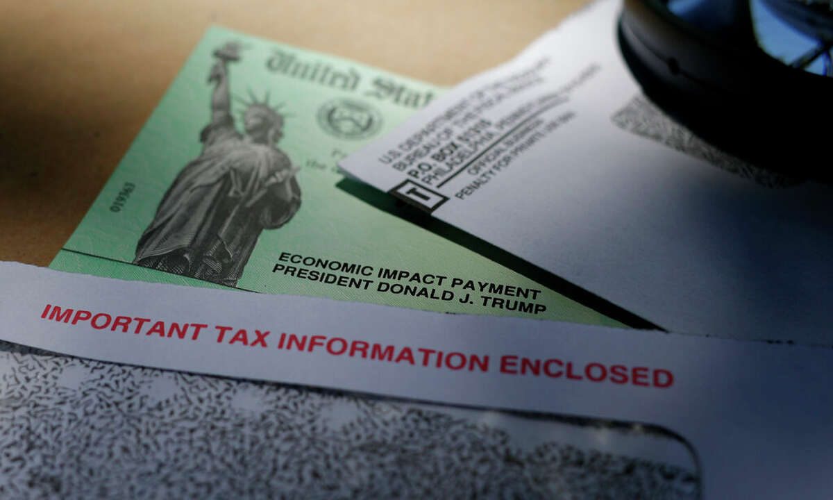 President Donald Trump's name is seen on a stimulus check issued by the IRS to help combat the adverse economic effects of the COVID-19 outbreak.