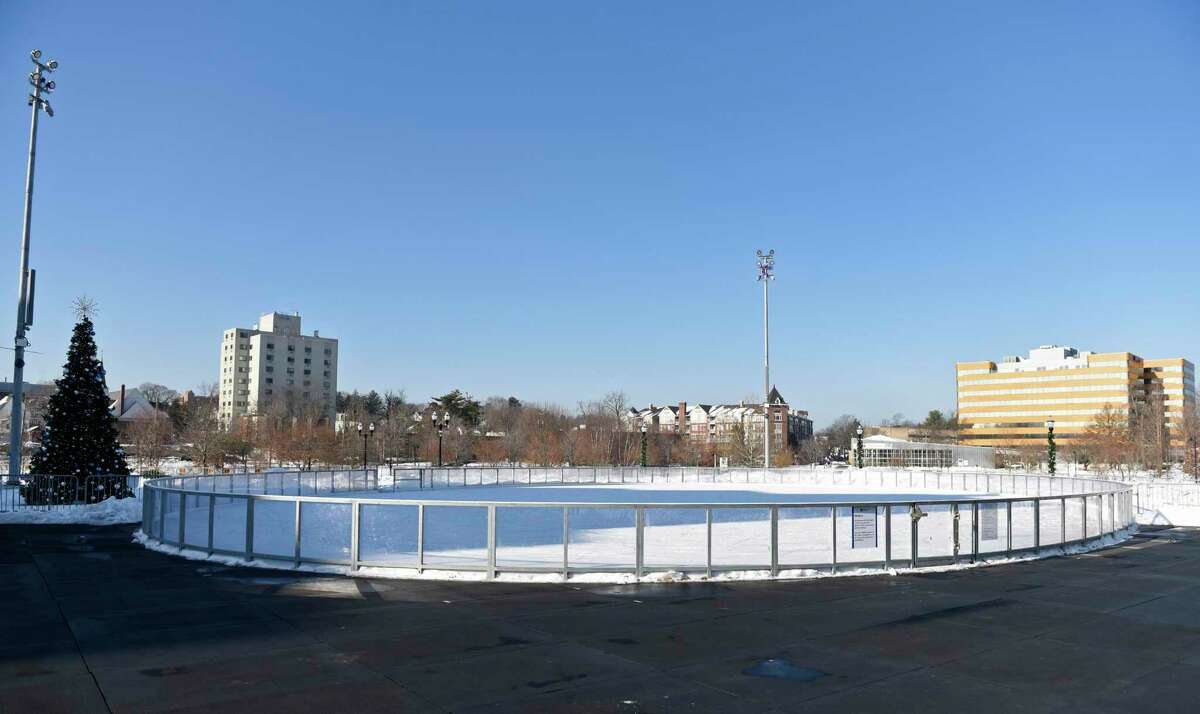 The Steven and Alexandra Cohen Skating Center at Mill River Park in Stamford, Conn. is closed on Monday, Dec. 21, 2020. The outdoor ice rink is closed until Jan. 19 at the earliest because of Gov. Lamont's Team Sports on Pause order related to COVID-19.