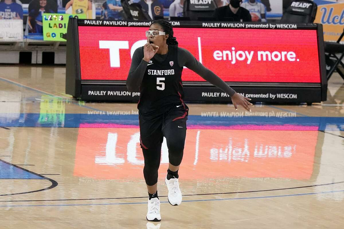 Stanford forward Francesca Belibi (5) reacts after dunking against UCLA during the second half of an NCAA college basketball game Monday, Dec. 21, 2020, in Los Angeles. (AP Photo/Marcio Jose Sanchez)