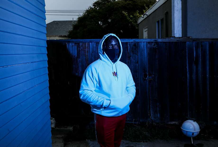 D'Andre Sams, also known as ALLBLACK, poses for a portrait on Friday, December 11, 2020, in Berkeley, Calif. The Oakland rapper's music career took off this year. Photo: Yalonda M. James / The Chronicle
