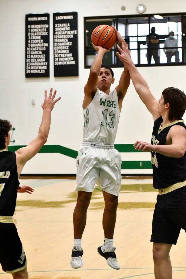 Floydada's Brandon Marquez rises for a jump shot during the Whirlwinds' 73-45 victory over Post on Monday in Whirlwind Gym. Photo: Nathan Giese/Planview Herald