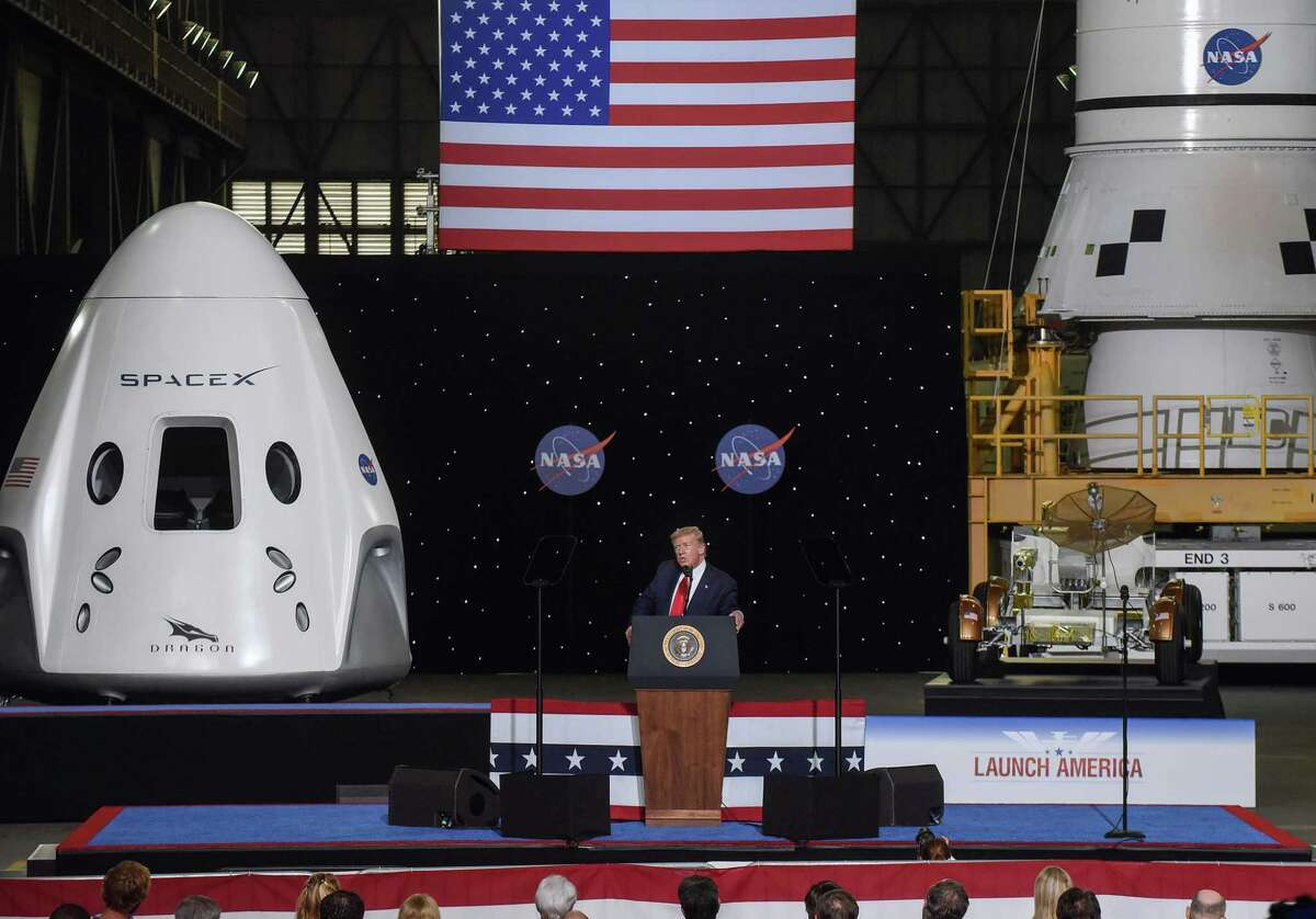 President Donald Trump speaks at NASA's Vehicle Assembly Building following the successful launch of a Falcon 9 rocket with the Crew Dragon spacecraft from the Kennedy Space Center on May 30, 2020. (Photo by Paul Hennessy/SOPA Images/LightRocket via Getty Images)