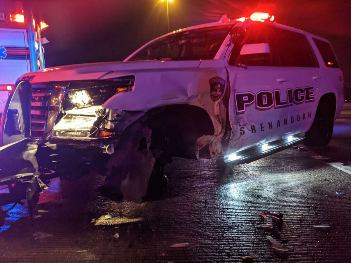 A Shenandoah Police Department vehicle is seen Dec. 19 on Interstate 45 North after being struck by an SUV.