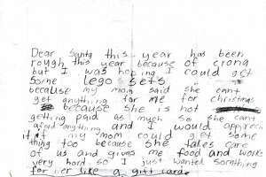 This letter sent to Santa was processed and adopted online by a generous donor as part of the U.S. Postal Service's Operation Santa, which went online and nationwide this year.