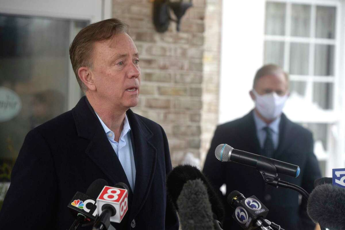 Gov. Ned Lamont at a news conference in West Hartford on Dec. 18, 2020.