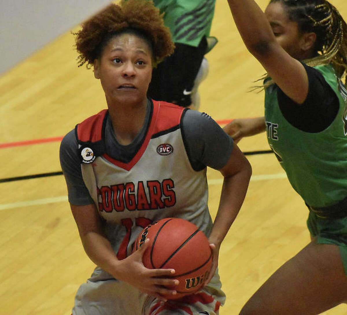 SIUE sophomore forward Mikayla Kinnard drives to the basket in the first quarter against Chicago State on Monday.