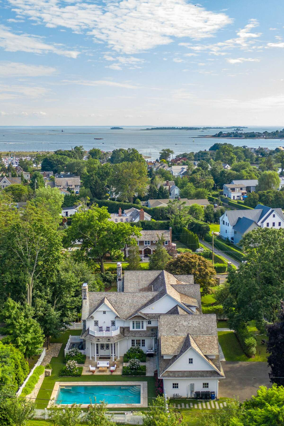 This house, at 2 Hidden Hill Road, Westport in the Compo Beach neighborhood, is only blocks from Long Island Sound and Compo Beach.